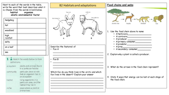 ks3 habitats and adaptations worksheet by nieuwenhuys teaching resources tes. Black Bedroom Furniture Sets. Home Design Ideas