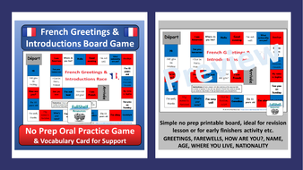 French greetings introductions games by fullshelf teaching french greetings board game preview1 tespdf m4hsunfo