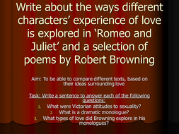 LOVE in Romeo and Juliet & Robert Browning Lesson 3