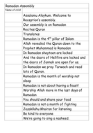 Ramadan Assembly Script EYFS
