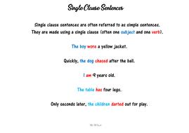 Single and Multi-clause Sentences