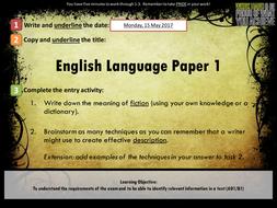 English Language Paper 1, Section A Unit of Work (AQA GCSE, 8700/1)