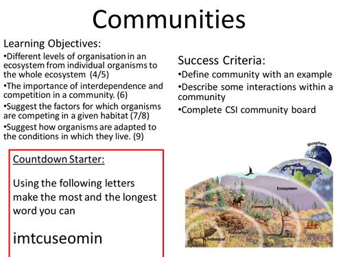 New Gcse Biology Communities Lesson By Jeffsstarscience Teaching