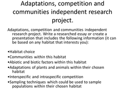 Adaptations, competition and communities independent research homework project