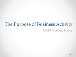 Reasons and purpose for Business Activity
