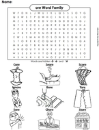 ore Word Family Word Search