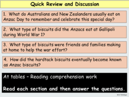 ANZAC Day Biscuits Presentation and Plus Reading Comprehension Worksheets  and Literacy Link