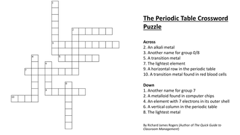 The periodic table crossword puzzle complete with answers by the periodic table crossword with answerspdf urtaz Image collections
