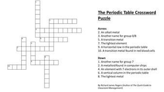 The Periodic Table Crossword With Answersppt