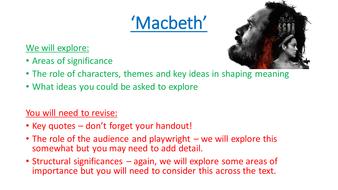 'Macbeth' GCSE Revision Lesson/Lecture