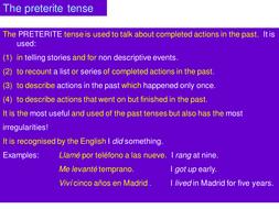 Spanish PRETERITE