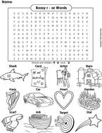 Bossy r - ar Words Word Search