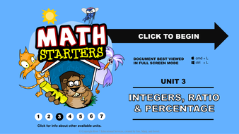 Math Starters - Integers, Ratio and percent