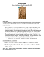 Ancient Greece: How a Husband Should Treat His Wife Worksheet