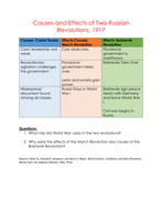 Causes and Effects of Two Russian Revolutions, 1917 - Handout