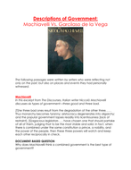 Descriptions of Government:  Machiavelli Vs. Garcilaso de la Vega- Worksheet