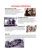 Technology of World War II WORKSHEET