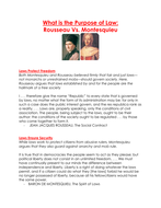 What is the Purpose of Law: Rousseau Vs. Montesquieu worksheet
