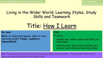 Teachers Must Ditch Neuromyth Of >> Ppt Presentation Living In The Wider World How I Learn By