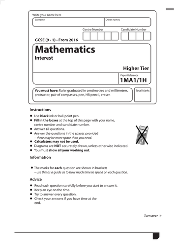 GCSE Maths Exam Style Paper Compound Interest Depreciation Decay ...