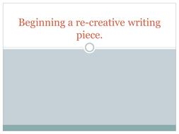 Year 12 Re-Creative Writing