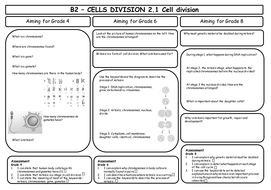 AQA GCSE 9-1 Biology B2 Revision Sheets (differentiated