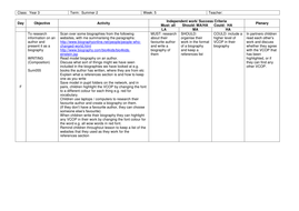 writing a biography lesson plan and writing frame by