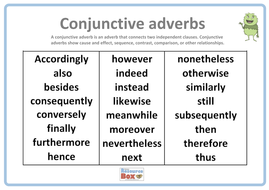 conjunctive adverbs poster 1 by resourcebox teaching resources tes