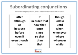 subordinating conjunctions poster 1 by resourcebox teaching