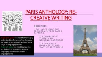 Updated - AQA PARIS ANTHOLOGY A LEVEL LANGLIT - FULL (whole year) UNIT OF WORK