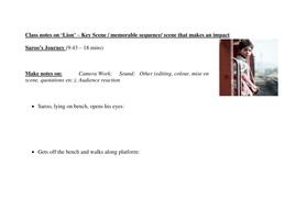 teacher s notes template for analysing a key scene from lion