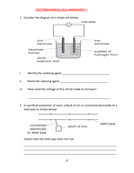 ELECTROCHEMICAL CELLS WORKSHEET WITH ANSWERS   Teaching ...