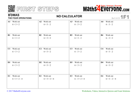 BiDMAS (Worksheets with Solutions) by Maths4Everyone   Teaching ...