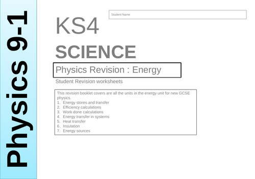 GCSE Physics 1-9 : Energy revision booklet