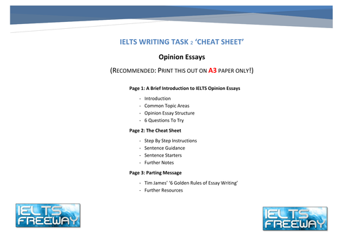 ielts writing task opinion essay cheat sheet by bigtj  ielts writing task 2 opinion essay cheat sheet by bigtj teaching resources tes