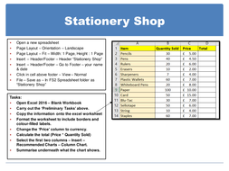 KS3 Spreadsheet Practice