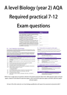 Required practical exam questions workbook | A level biology AQA OCR Edexcel WJEC Year 2