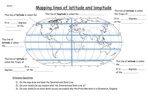 {Latitude and Longitude Worksheet by KatieMaria Teaching – Latitude and Longitude Worksheet