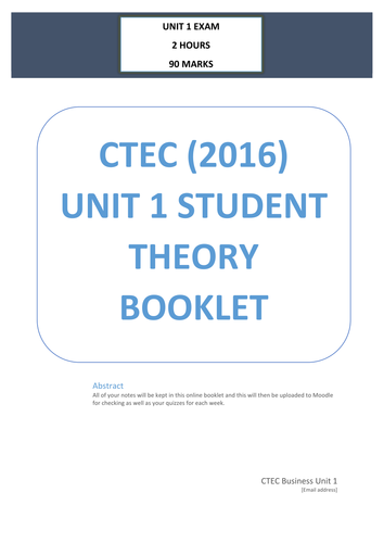 CTEC Business Studies 2016 Unit 1 Worksheet