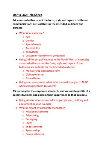 CTEC Business Studies 2016 Unit 4 LO2 Help Sheet