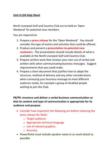 CTEC Business Studies 2016 Unit 4 LO4 Help Sheet