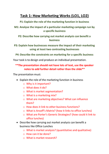 CTEC Business Studies 2016 Unit 5 Task 1 Help Sheet