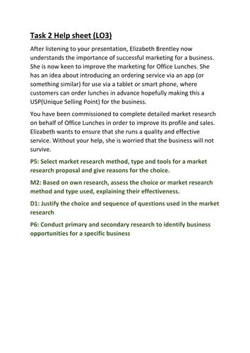 CTEC Business Studies 2016 Unit 5 Task 2 Help Sheet