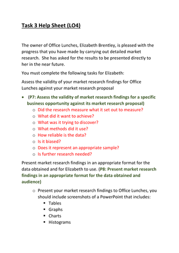 CTEC Business Studies 2016 Unit 5 Task 3 Help Sheet