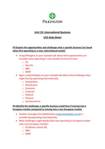 CTEC Business Studies 2016 Unit 19 LO2 Help Sheet