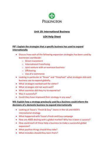 CTEC Business Studies 2016 Unit 19 LO4 Help Sheet