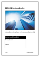 Homework tasks for GCSE Business (9-1): OCR 02 operations, finance and influences on business (PDF)