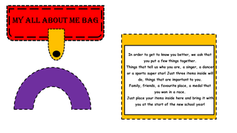 All About Me Bag Template Ideal For Transition New Class Or