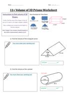 Volume of 3D Prisms Worksheet