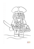 Lego Jack Sparrow Coloring Page Free Printable